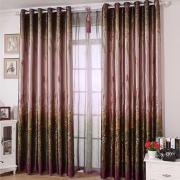 Bud Green Floral Printed Sound-proof Curtains (Two Panels)