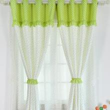 Bud Green Pastoral Polka Dots Printed Lace Cotton and Linen Curtains