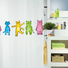 Cartoon Cats White PEVA Creative Shower Curtains