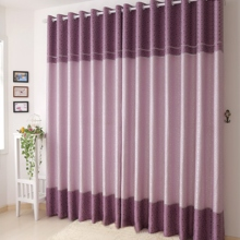 Charming Geometric Squared Purple Polyester/Artificial Fiber Blend Curtains(Two Panels)