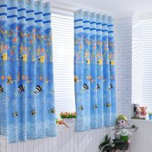 Charming Sea World Printed Polyester Kid Curtains in Blue