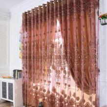 Cheap Floral Printing Applique Bedroom Curtains