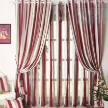 Chenille Pleated Striped Living Room Curtains in Multi-colors