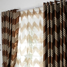 Marvelous Chic Brown Blackout Poly/Cotton Blend Curtains With Geometric Patterns