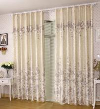 Classic Beige Cotton Blackout and Thermal Solid Curtains (Two Panels)