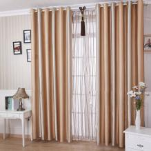 Classic Champagne Polyester Blending Materials Living Room Curtains