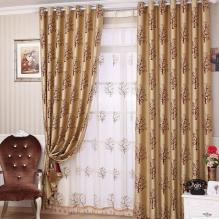 Classic Gold Living Room or Bedroom Curtains with Printed Patterns