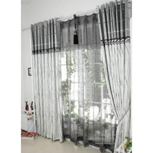 Classic Jacquard Poly/Cotton/Artificial Fiber Blend Grey Curtains(Two Panels)
