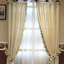 Classic Lace Yellow Floral Printing Curtains for Thermal