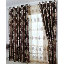 Classic Thermal Curtains with Chocolate Botanical Jacquard(Two Panels)