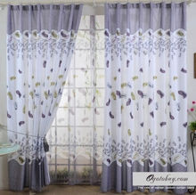Classic White Yarn Feathers Printed Polyester Blackout Curtains