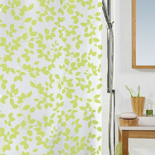 Contemporary Shower Curtain in Green Color with Leaf