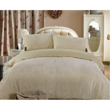 Corduroy and Cotton Ivory 4-piece Duvet Cover Set