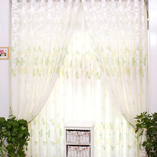Cotton Yarn and Poly Leaf Jacquard Energy Saving White Curtains