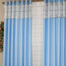 Cotton and Fiber Blended Striped Lace Curtains in Blue