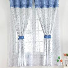 Country Blue Polka Dots Printed Cotton Eco-friendly Curtains