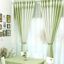 Country Bud Green Floral Printing Plaid Curtains