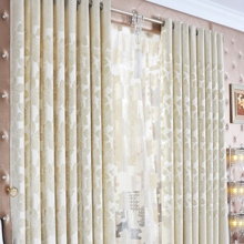 Country Floral Printed Artificial Fiber Ivory Curtains (Two Panels)