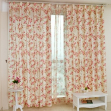 Country Flowers Pattern Polyester Beige Energy Saving Curtains