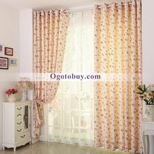 Country High End Ploy/Cotton Blend Beige Fabric Bedroom Curtains