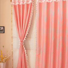Country Lace Plaid Cotton Pink Curtains for Eco-friendly Function
