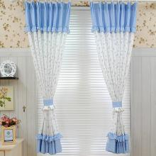 Country Little Botanical Printed Cotton Lace Curtains in Blue