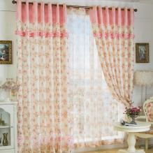 Country Little Flower Printed Lace Thermal Curtains in Pearl Pink