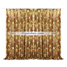 Country Luxury Floral Cotton and Polyester Curtains(Two Panels)