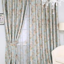 Country Style Blue Floral Jacquard Smooth Lined Curtains