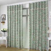 Country Style Bud Green Little Floral Cotton Curtains (Two Panels)
