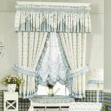 Country Style Floral Printing Lace Half Curtains in White