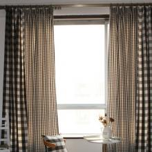 Country Style Plaid Cotton Black and White Eco-friendly Curtains