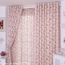 Country Style Poly Blending Floral Printed Pink Curtains