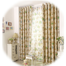Cute Bear Kids Bedroom Inexpensive Curtains for Energy Saving
