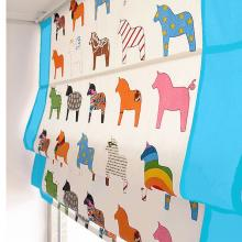 Cute Blue Little Horse Roman Curtains of Cotton for Boys
