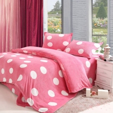Cute Girl Circular Pink Coral Fleece 4-piece Duvet Cover Set