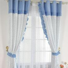 Cute Lace Curtains Made of Poly and Cotton in Blue and White
