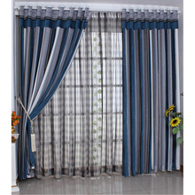 Dark Blue Striped Designer Custom Modern Curtains On Sale
