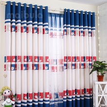 Dark navy cartoon designer animal Kids curtains on sale
