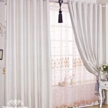 Discount Polyester and Cotton Bedroom or Living Room Curtains in White (Two Panels)