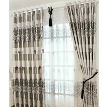Eco-friendly Curtain with Grey Plaid Check Floral Printed Pattern