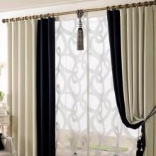 Elegant Black and White Eco-friendly Living Room Curtains (Two Panels)