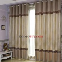 Elegant Brown Jacquard Energy Saving Poly/Cotton Blend Curtains with Embroidery 001