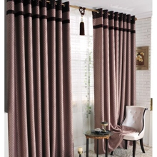 Elegant Criss-cross Patterns Chocolate Polyester Blended Blackout Curtains (Two Panels)