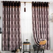 Elegant Geometrical Printed Purple Blackout Curtains