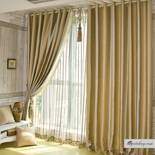 Elegant Gold Polyester Totally Blackout Lined Curtains