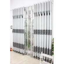 Elegant Grey Thermal Printed and Jacquard Curtain with Blend Materials(Two Panels)