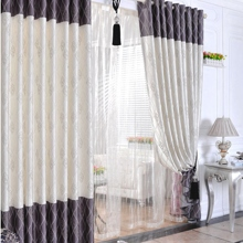 Elegant Ivory Floral Printed Polyester Striped Ordinary Blackout Curtains (Two Panels)