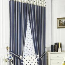 Elegant Striped Polka Dots Printing Lace Blue Cotton Curtains