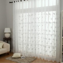 Embroidery Flower Design White Sheer Curtains